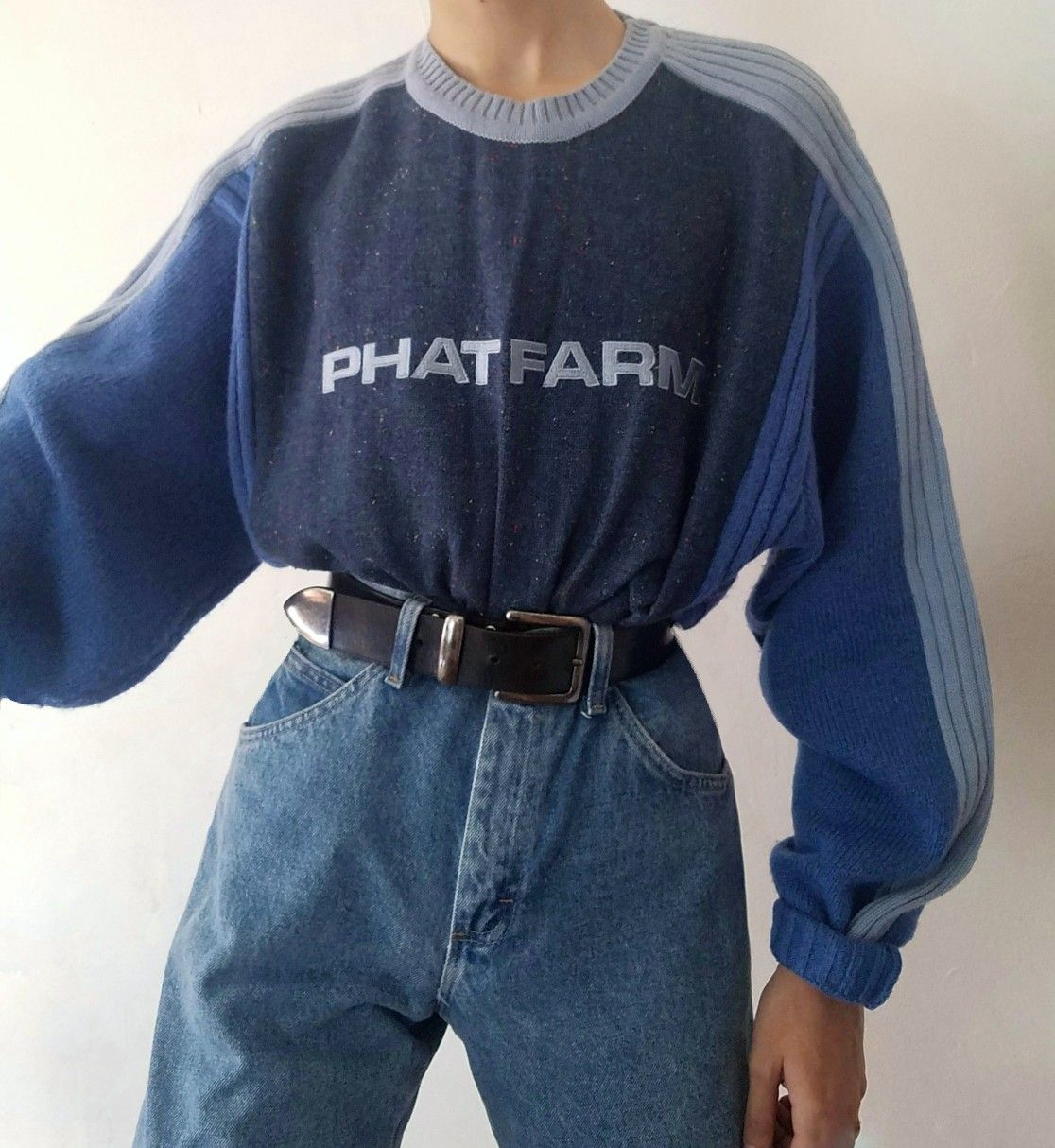 """Blue """"phat Farm"""" Sweater [with Blue Hued Stripes Down"""