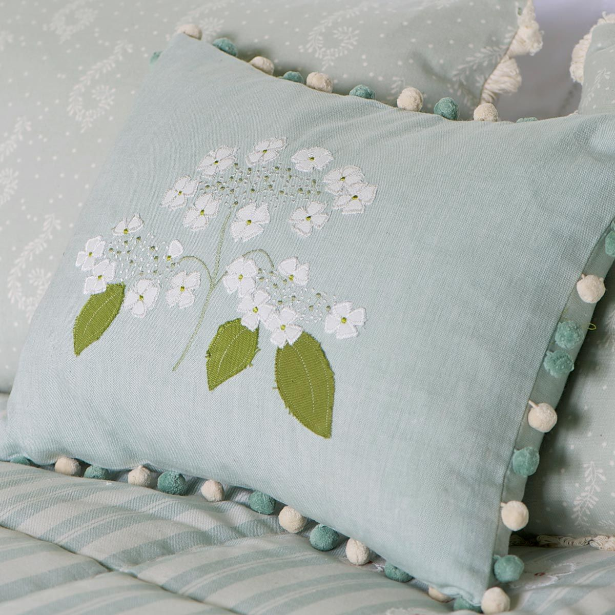 hand embroidered duck egg blue hydrangea flower cushion. Black Bedroom Furniture Sets. Home Design Ideas