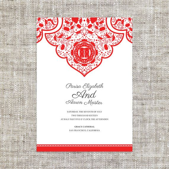 Asian Wedding Food Menu: DIY Printable / Editable Chinese Wedding Invitation Card