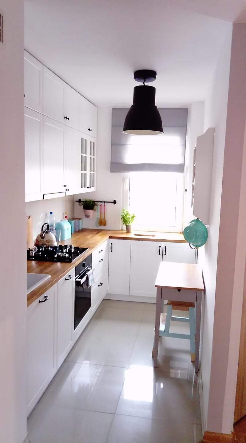 32 Small Kitchen Ideas Modern Narrow Kitchen Design With Wooden Countertop Page 30 Of 32 Small Modern Kitchens Small Kitchen Plans Narrow Kitchen Design