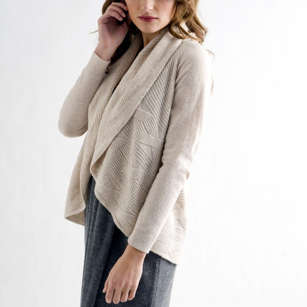 Kinross Cashmere Cable Rib Cardigan | Womens Cashmere Sweaters ...