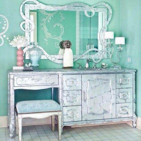 tocadores recamara vintage vintage azul espejos tocador encantador ect muebles padres interiores recamaras peinador