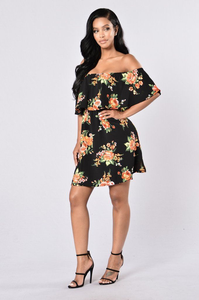 0989a49cc893 Available in Burgundy and Black - Off Shoulder Dress - Floral Print - Knee  Length - Loose Fit - Ruffle Top - Elastic Band For Stretch - Made in USA -  95% ...