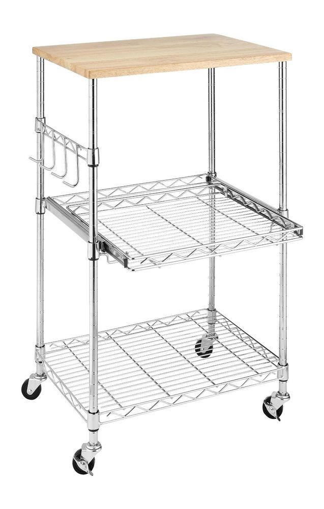 Kitchen Microwave Cart Cutting Board Stand Wire Shelf