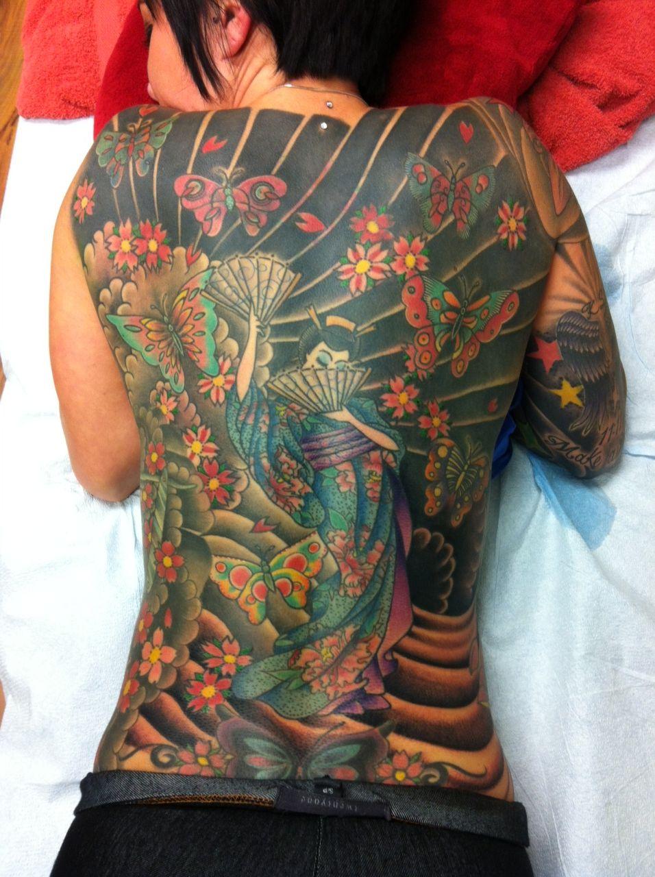 Full back geisha girl tattoo! Heather and her awesomeness