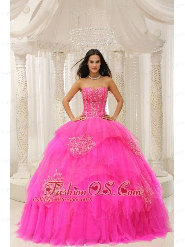 Custom Made Hot Pink Sweetheart Embroidery For Quinceanera Wear In 2013  http://www.fashionos.com  http://www.facebook.com/quinceaneradress.fashionos.us  Opulence is the word written all over this quinceanera dress. It truly is an example of high end couture fashion. It features a strapless sweetheart bodice with symmetrical lines and nice embroidery details throughout to create a flattering pattern.