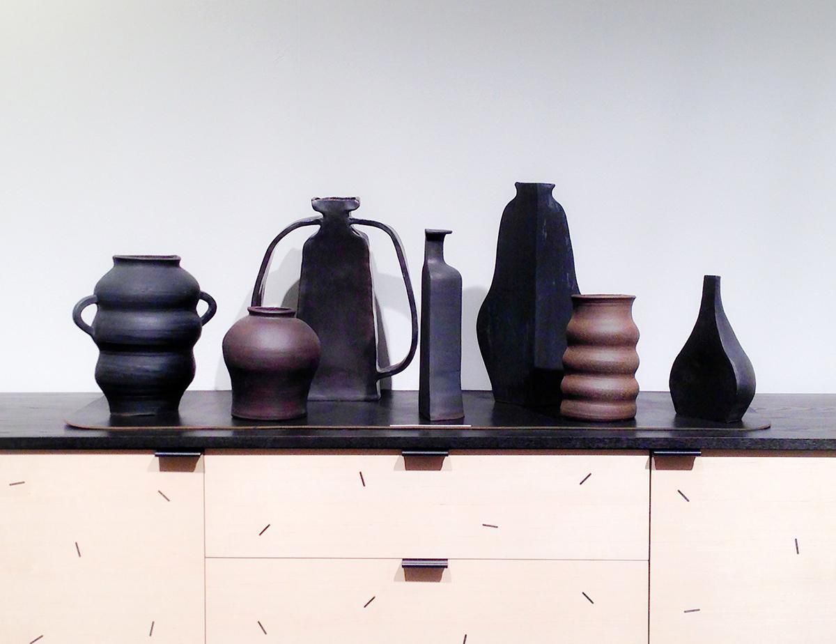 Lew enlisted her friend, ceramicist Keiko Narahashi, to show these sculptural vessels.