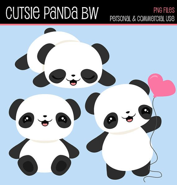 Instant Download Cliparts  Cutsie Panda BW by CuteMemories on Etsy, $4.00