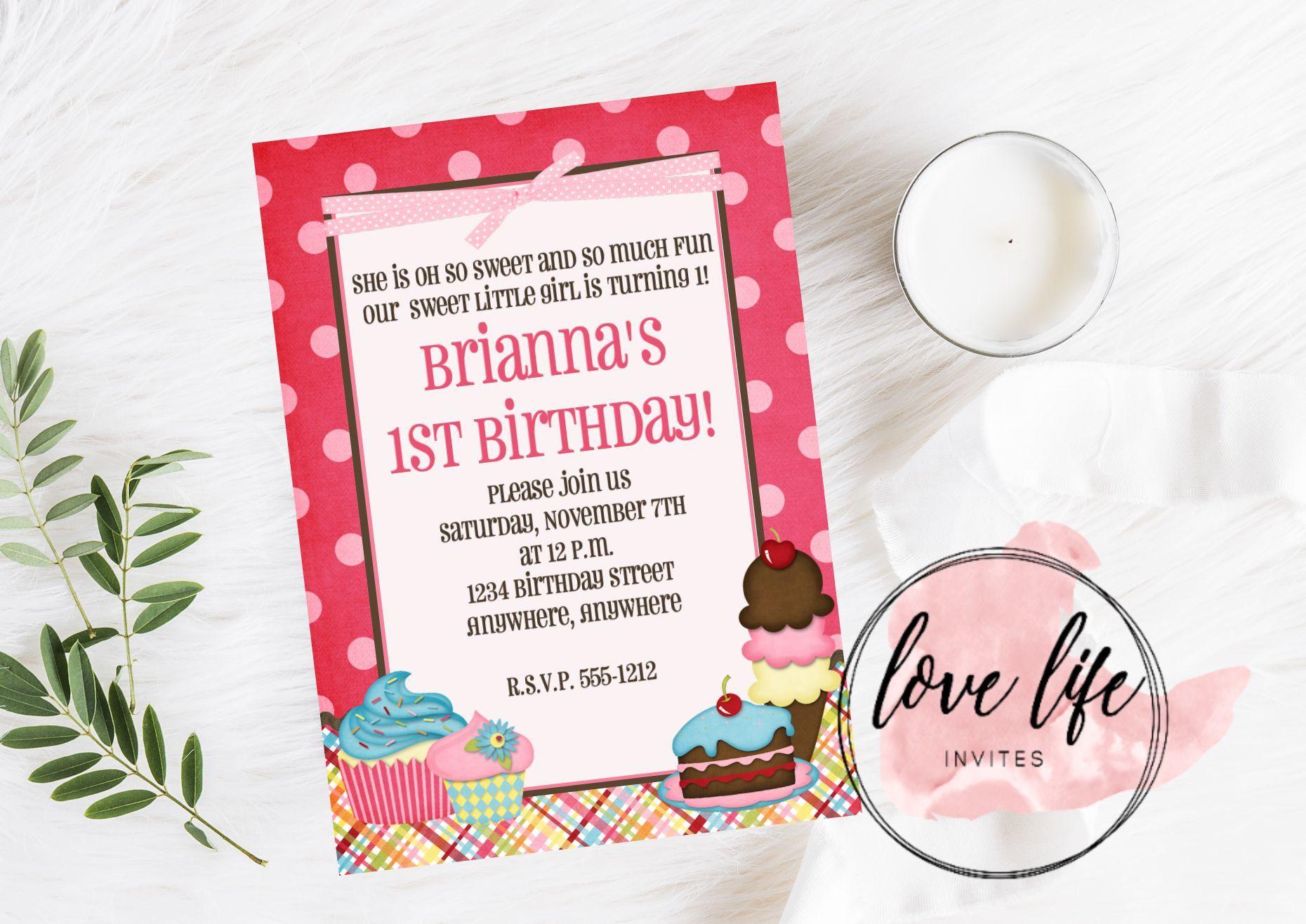 Cupcake Birthday Invitation | Kids Birthday Invitation | Cupcake ...