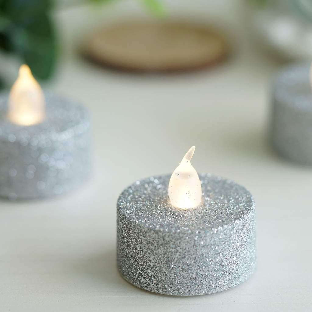 12 Pack Silver Glitter Flameless Led Candles Battery Operated Tea Light Candles In 2021 Led Tea Light Candles Tea Light Candles Battery Operated Tea Light Candles