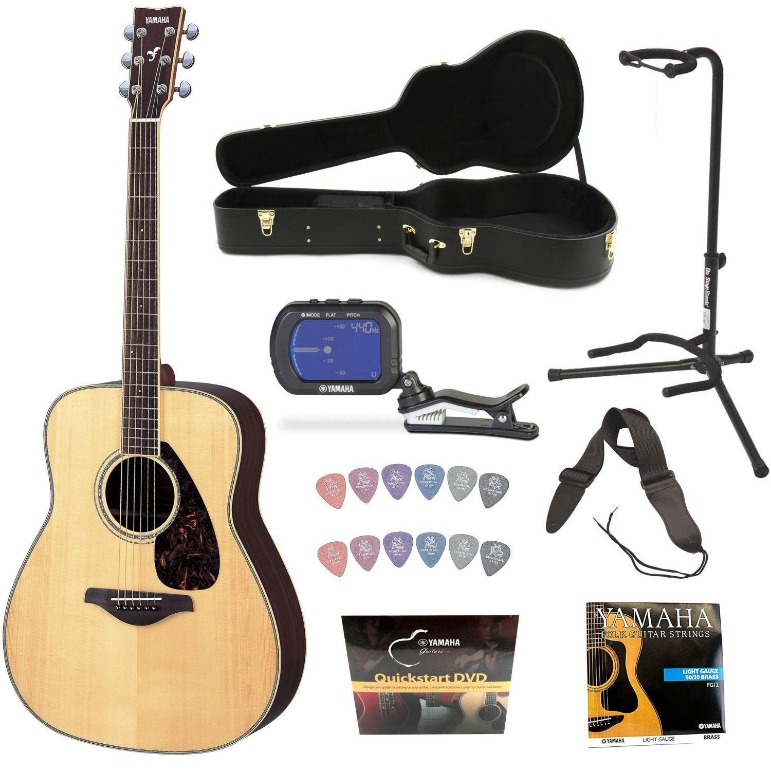 yamaha guitars yamaha fg730s acoustic guitar natural with yamaha hcag1 guitar case guitar. Black Bedroom Furniture Sets. Home Design Ideas