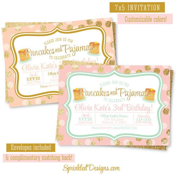 Pancakes and pajamas birthday party invitation pink peach gold pancakes and pajamas birthday party invitation pink peach gold glitter confetti mint aqua breakfast sleepover slumber party invitations filmwisefo Gallery