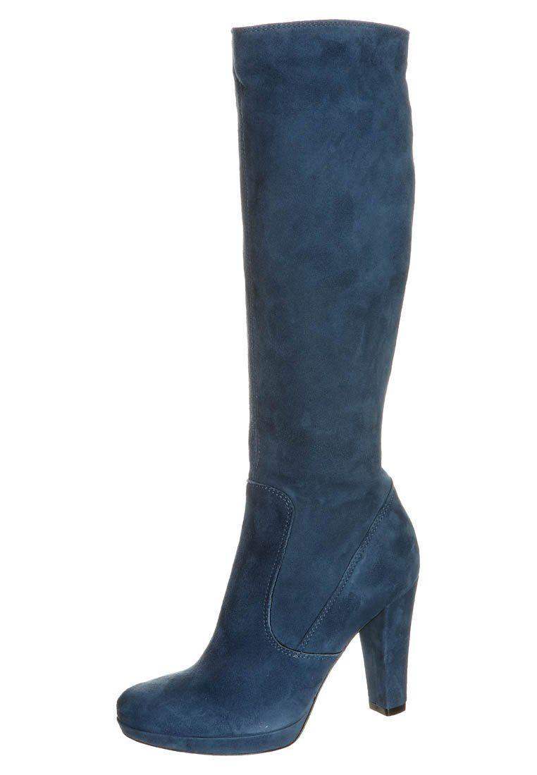 blauwe laarzen met hoge hak