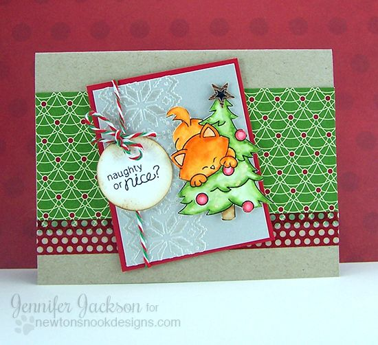 Naughty or Nice Christmas Cat card by Jennifer Jackson | Newton's Curious Christmas Stamp Set