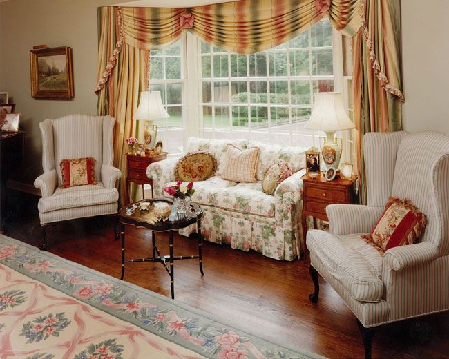 French country window treatments and window seats home for French country style living room
