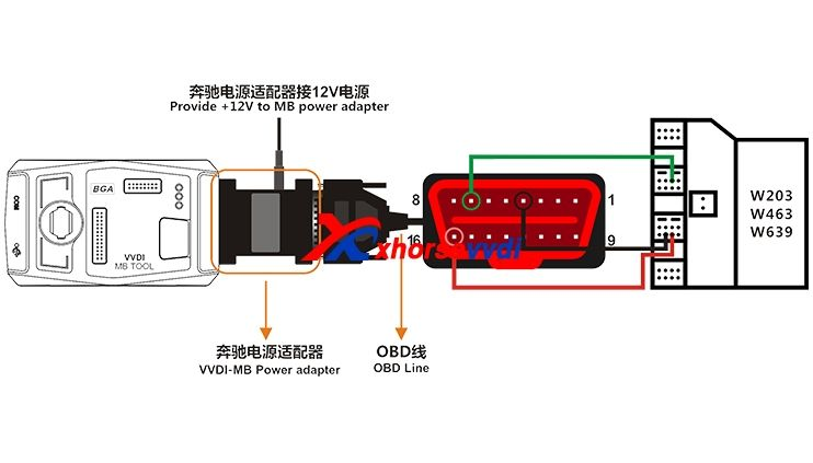 Vvdi Mb Tool Power Adapter W210 W211 W639 W906 Connection Wiring Power Adapter Power Tools