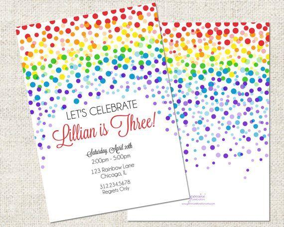 Rainbow Confetti Birthday Invitation Printable