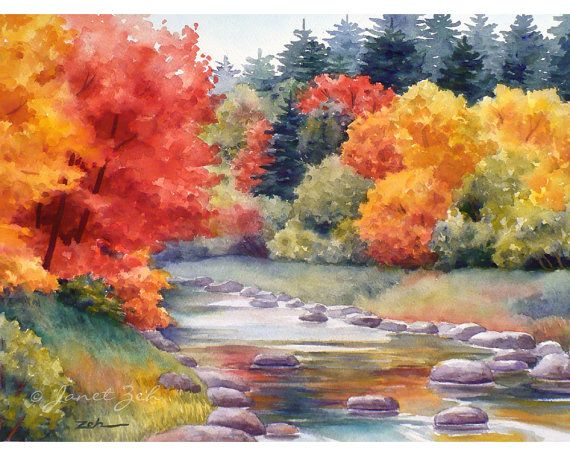 Autumn Watercolor Print New England Fall Trees Landscape Mountain