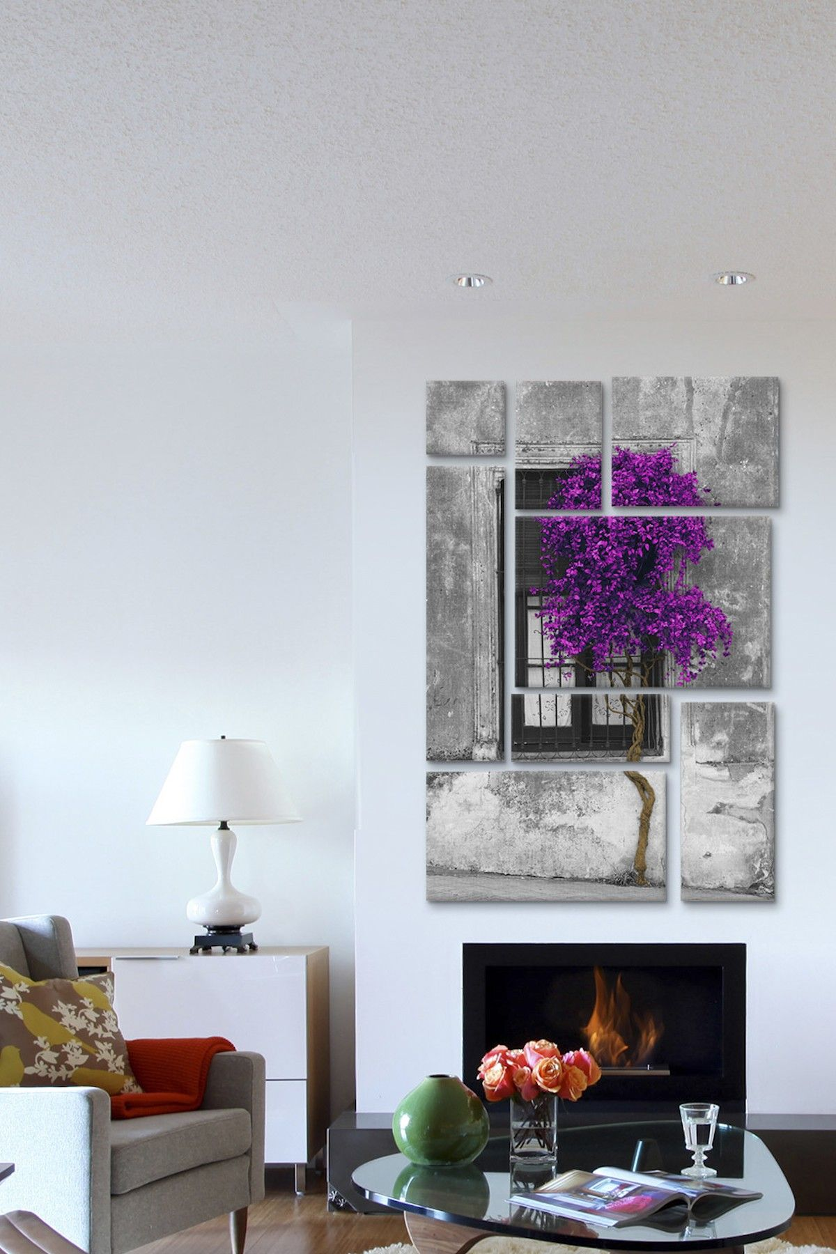 Tree window purple color pop by panoramic images canvas print