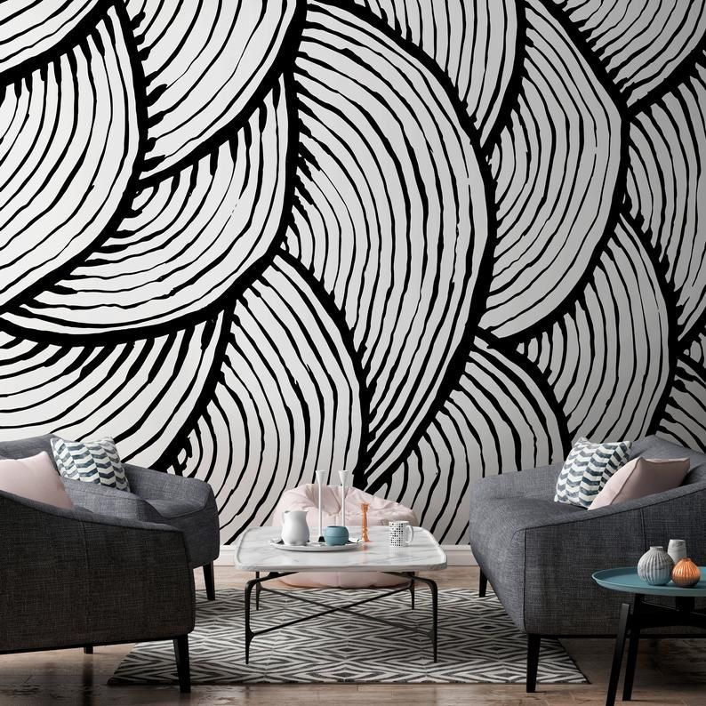 Removable Wallpaper Peel And Stick Wallpaper Wall Paper Wall Mural Black And White Wallpaper A In 2020 Wall Wallpaper Removable Wallpaper Black And White Wallpaper