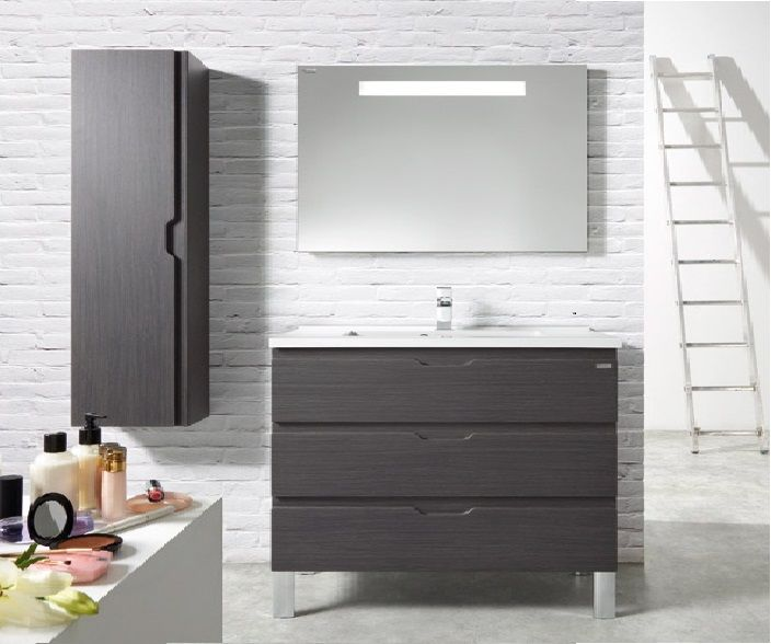Ensemble meuble salle de bain ALLEGRO3 120 cm en finition gris avec ...
