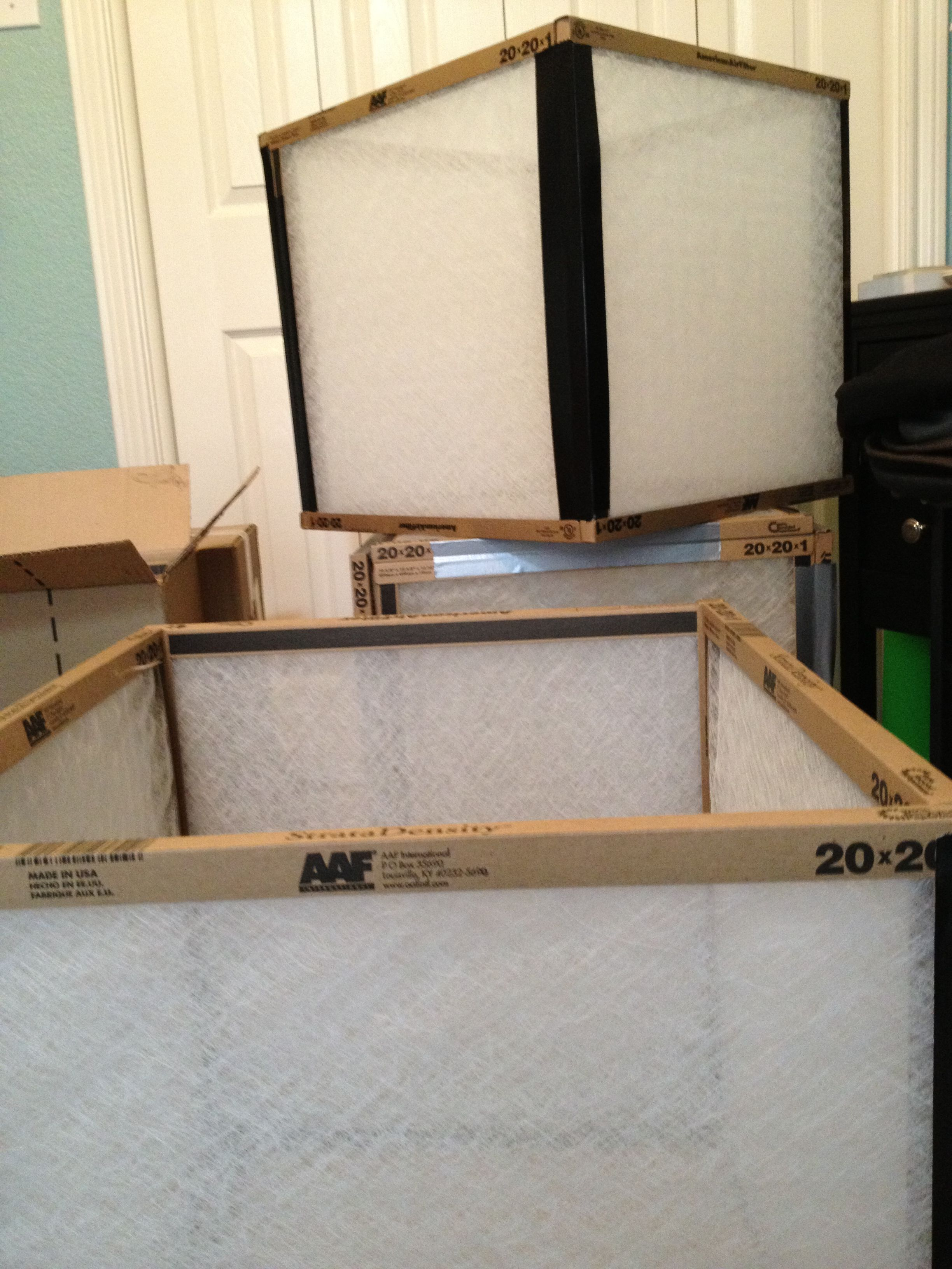 """DIY concept Use 20x20 A/C filters to create """"light boxes"""