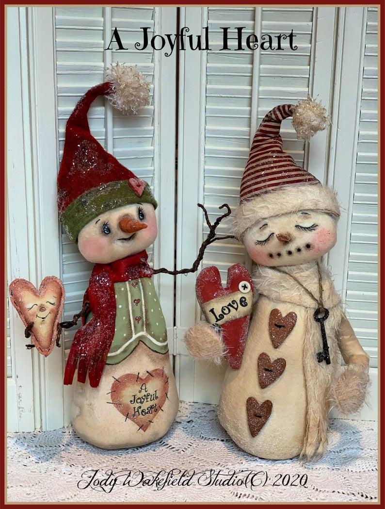 Primitive Snowman Pattern E Pattern A Joyful Heart Etsy In 2020 Snowmen Patterns Primitive Snowmen Valentines Patterns