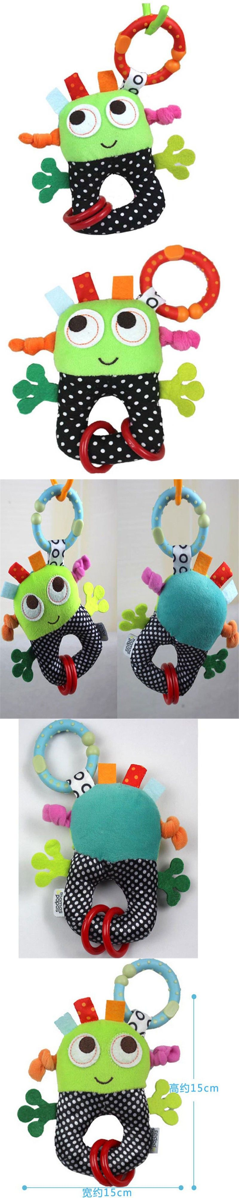 baby rattles toys small robots hanging infant Bell rubber ring pip