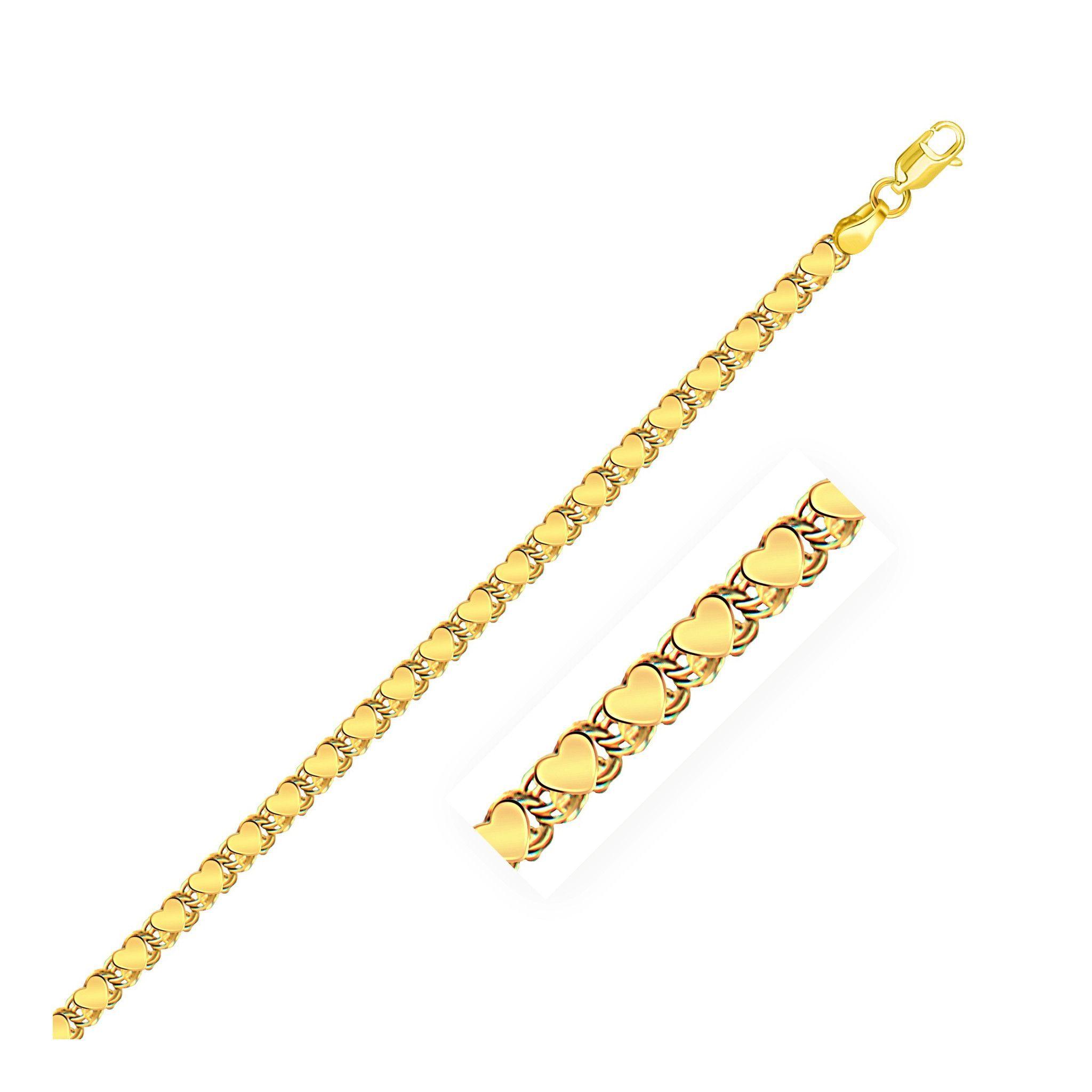 3.3mm 14K Yellow Gold Heart Bracelet