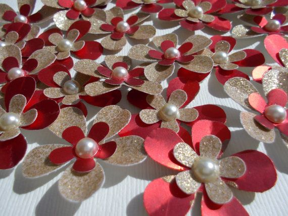 Red Gold Paper Flower Embellishments 3d Glitter Scrapbooking