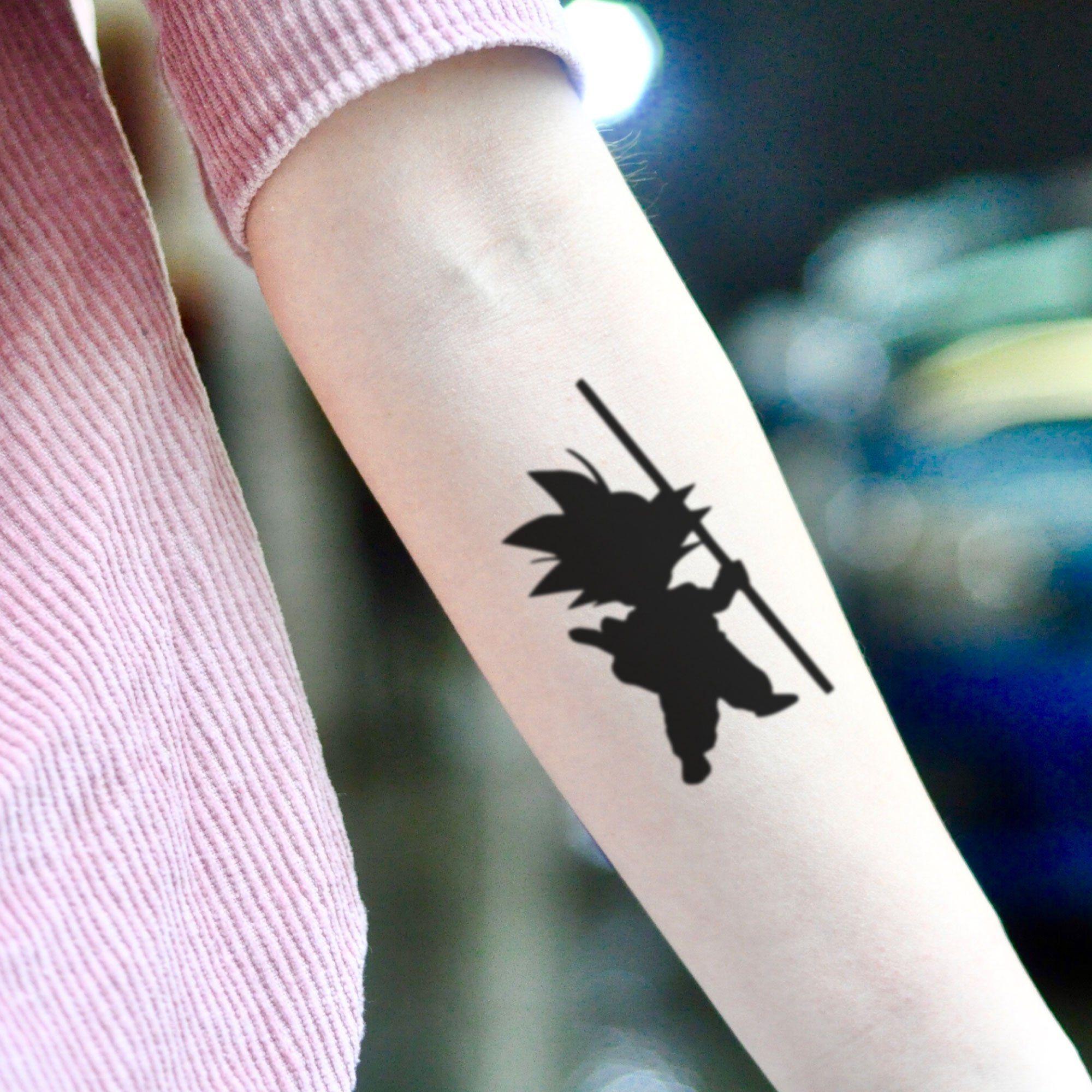 Kid Goku Super Saiyan Dragon Ball Z Temporary Tattoo Sticker Set Of 2 In 2020 Z Tattoo Dragon Ball Tattoo Dbz Tattoo