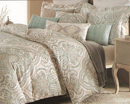 Nicole Miller King Or Full Queen Duvet Cover Set Paisley Large Moroccan  Medallion Thick Cotton Canvas Taupe Grey Beige Turquoise Gray Boteh Pattern  Boho ...