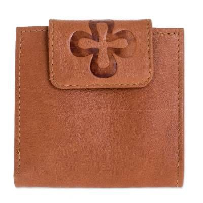Leather wallet, 'Sepia Cross'