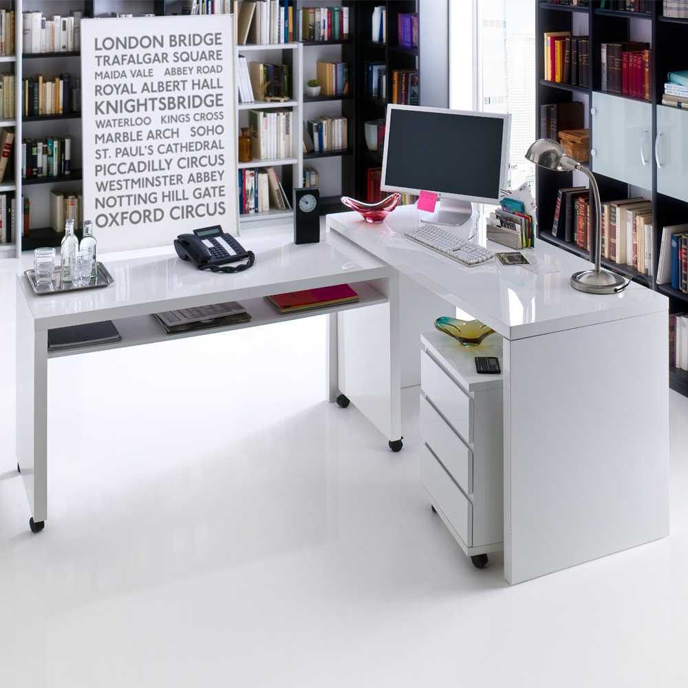 Modernes büro design  Winkelkombination in Weiß Hochglanz auf Pharao24.de entdecken ...