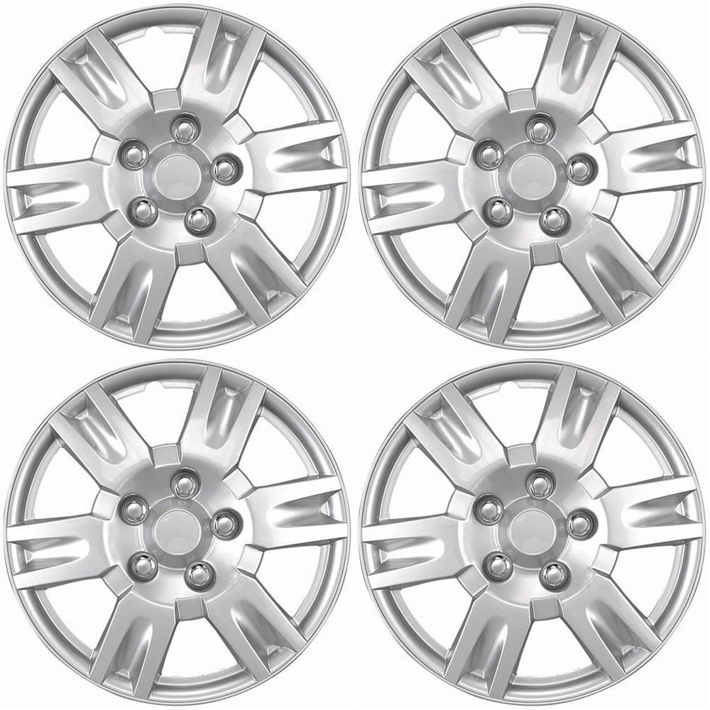 4 Piece Hub Caps Wheel Cover Set Silver Lacquer Fits 16 Inch Skin Covers Cap Fits Inch Skin Covers Lacquer Silver Caps Wheel Cover Piece Car Wheels