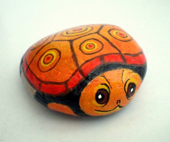orange turtle painted rock home garden decor paper weight gift under 25 for animal lovers collectibles - Rock Home Gardens