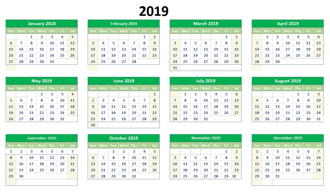 2019 Excel Calendar Printable 2019 Calendars Calendar 2019