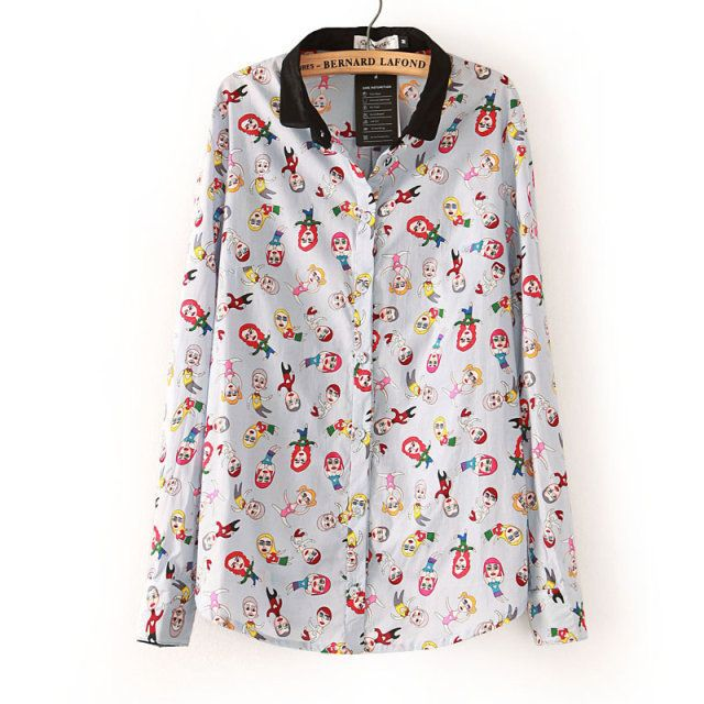 Free shipping 2014 spring new Hot Korean fashion lapel long-sleeved chiffon Jin Jiaen same paragraph cartoon temperament shirt $23.99