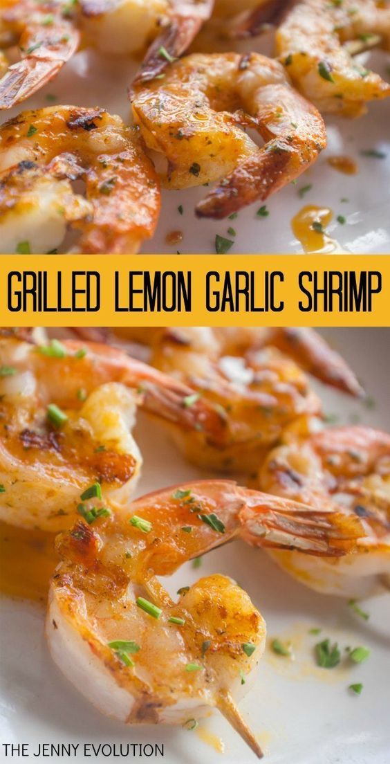 GRILLED LEMON GARLIC SHRIMP #grilledshrimp