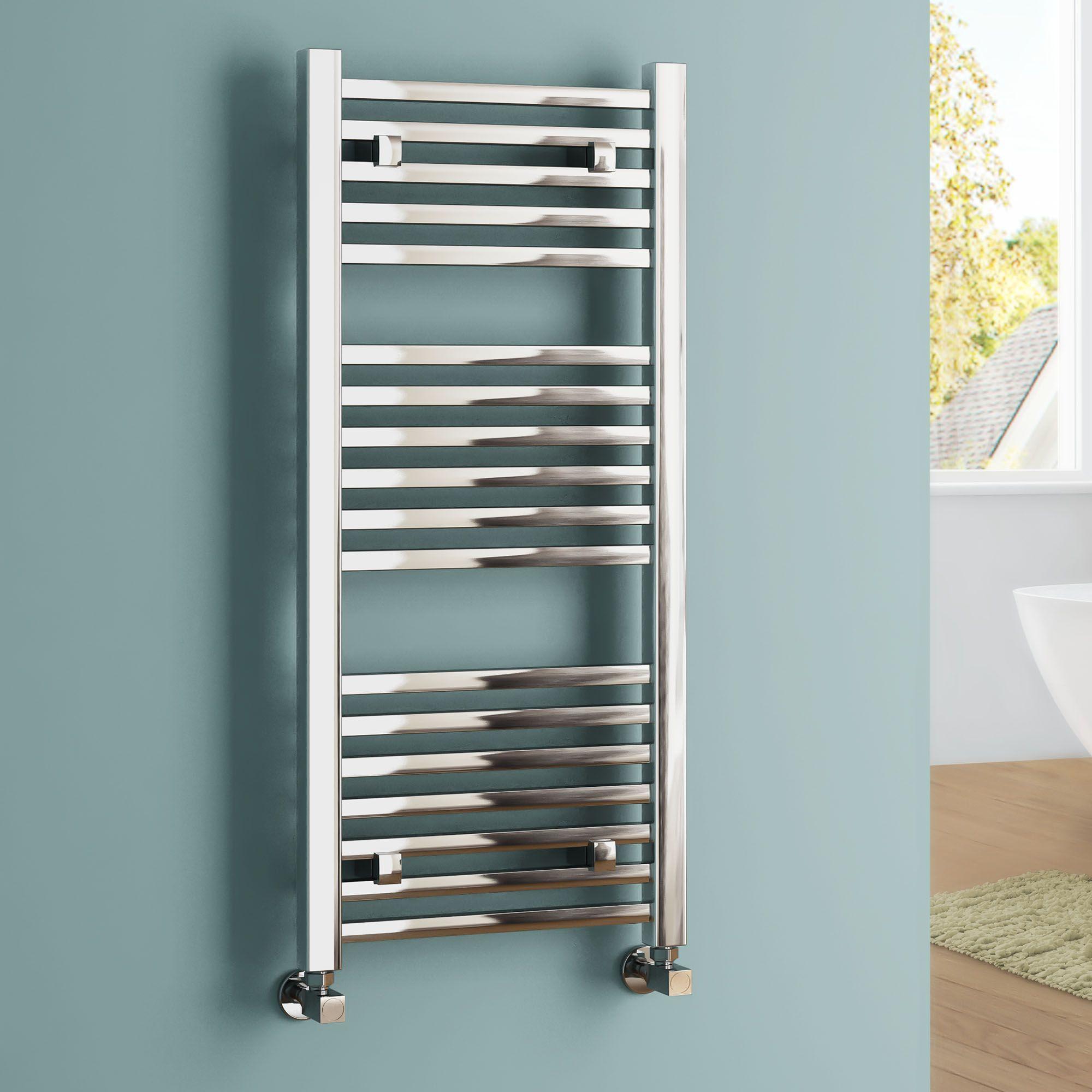 Natasha ladder rail straight modern electric towel radiator in chrome - Square Ladder Rail Contemporary Towel Radiator In Chrome 1000mm X 450mm