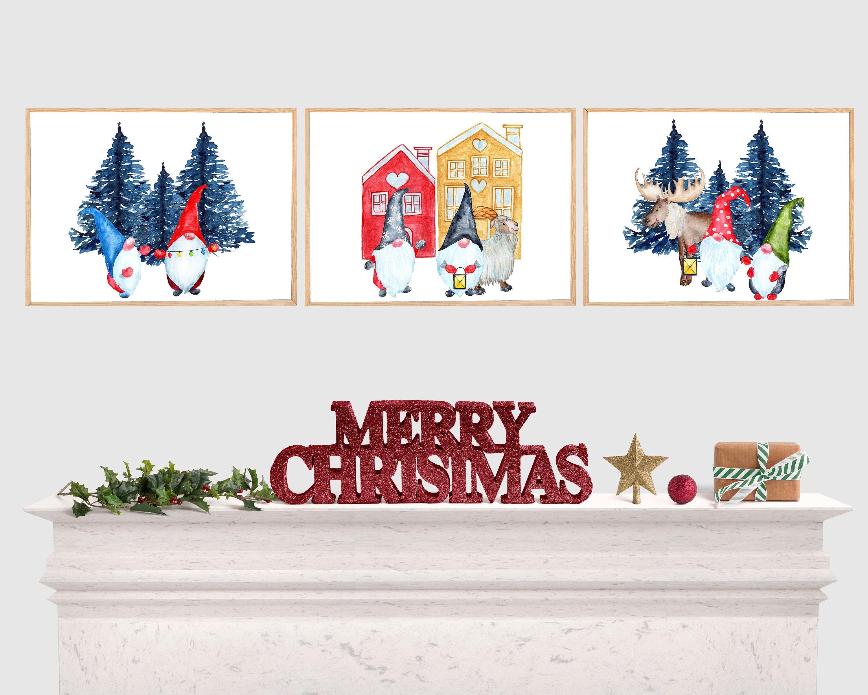 Christmas Gnomes Wall Art Digital Download Horizontal Prints Christmas Gnomes Set Of 3 Christmas Print Christmas Prints Christmas Gnome Christmas Printables