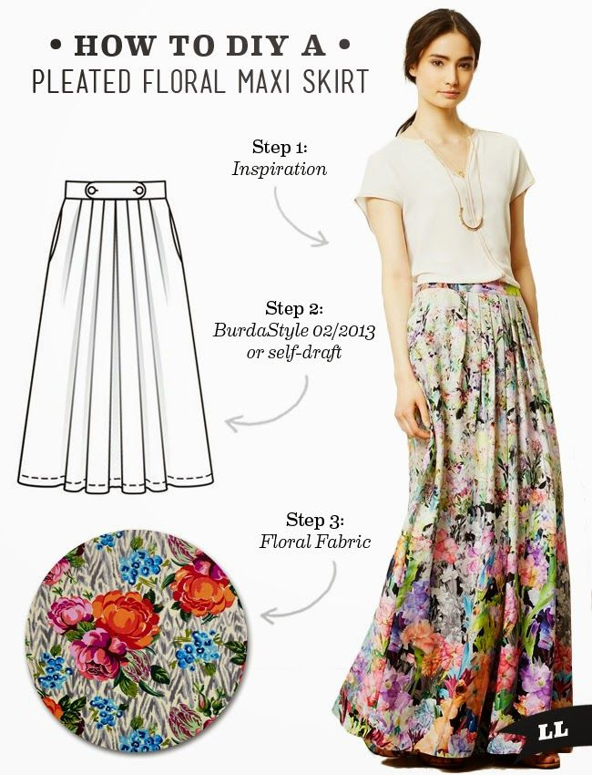DIY Outfit – Pleated Floral Maxi Skirt (Sew DIY) | Syning