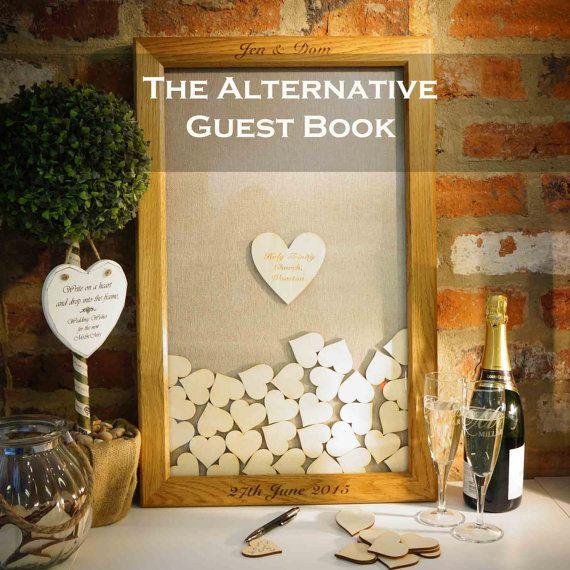 Wedding Guest Book Alternative Heart Drop Box Gift Personalised Custom Solid