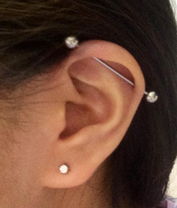 5c67cbae5 #industrial #scaffolding #piercing #barbell #ear #cartilage #straight #upper  #outer #wickedbodyjewelz