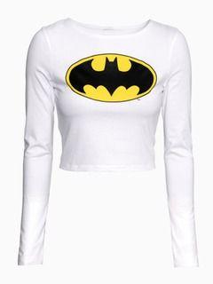 4d481445341 White Batman Crop Top Choies $20 | Tops | Long sleeve shirts, Tops ...