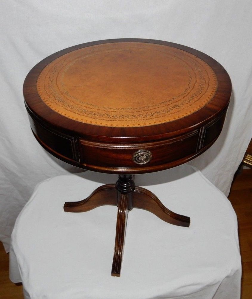 Antik Mobel Kleine Runder Tisch Englische Holz Und Leder Runder Tisch Antike Mobel Antik