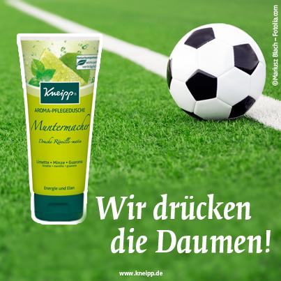 """Deutschland bei der WM - Kneipp drückt die Daumen. Die Kneipp Aroma-Dusche Muntermacher ist der perfekte Begleiter für die """"heiße Zeit"""". :)"""