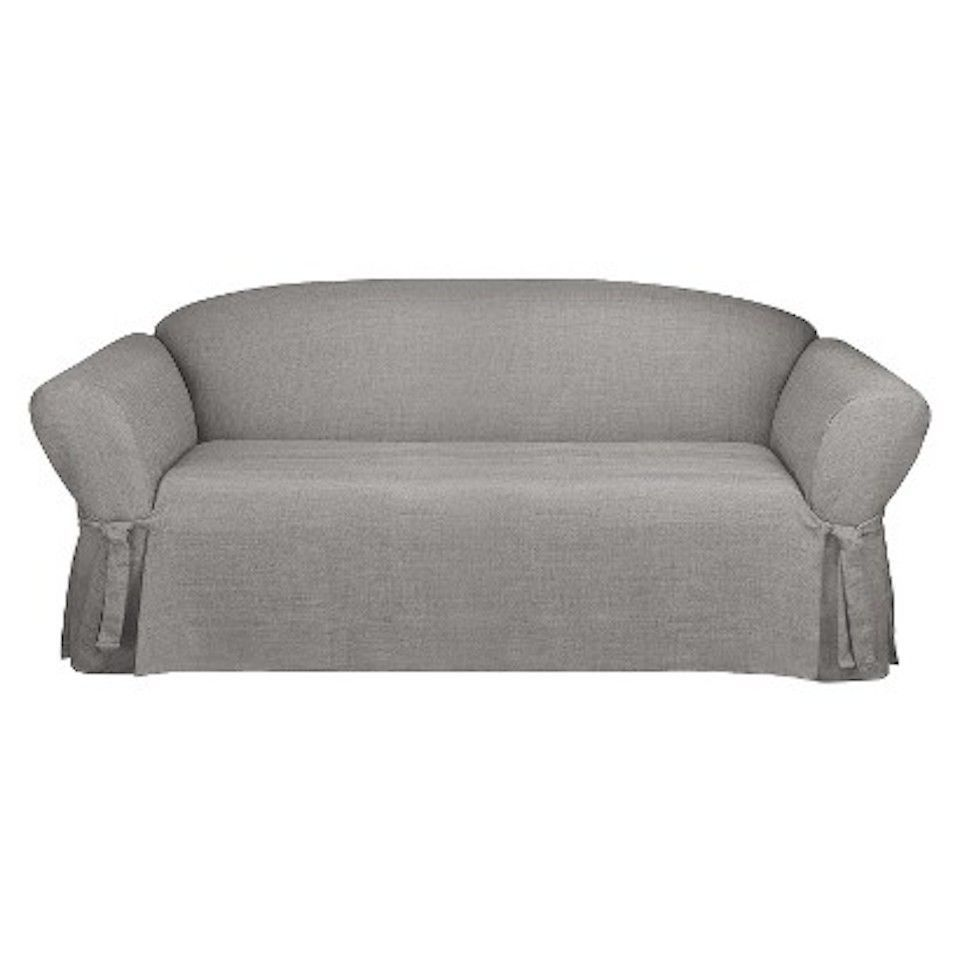 Sure Fit / Room Essentials Sofa Slipcover, Mason Gray Color, Box