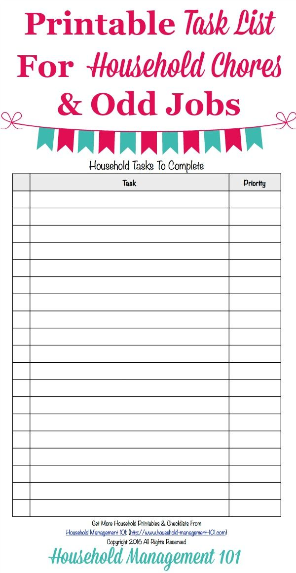 printable task list template master list of household chores odd