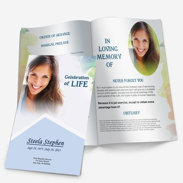 Minimal Color BiFold Funeral Program Template for Microsoft Word - memorial pamphlet template free